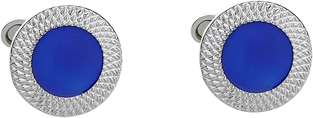 GH8 Mens Classic Stainless Steel Cufflinks Cufflinks Business Wedding Shirts - Blue Circular