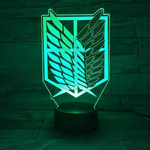 3D Night Light Spedizione gratuita Animazione Attack On Titan Wings of Liberty Lampada a LED 3D con 7 colori Cambia effetto Home Office Camera da letto Art Decor-7 Colori Cambia 7 colori modifica