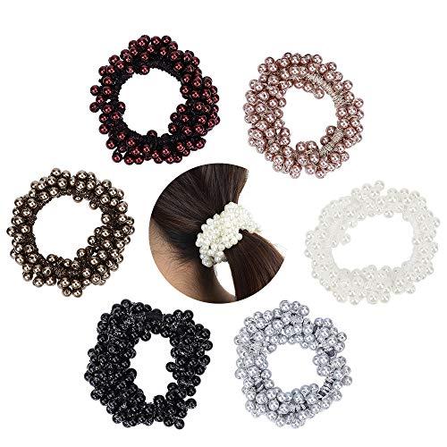 Elastische Haargummi, Hair Scrunchie, 6 STÜCKE Kunstperle Perlen Haarband Seil für Brötchen, Pferdeschwanz Halter Stirnbänder für Frauen Mädchen Dame Kinder Haarschmuck