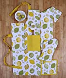 Set of Apron, Oven Mitt, Pot Holder, Pair of Kitchen Towels in a