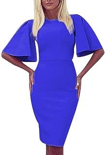 Jojckmen Woman Girls O-Neck Half Flare Sleeve Dress Knee-Length Hip Package Dress