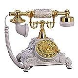 Fengflaw Teléfono Retro Vintage con Dial Giratorio, Resina Blanca Imitación Cobre...