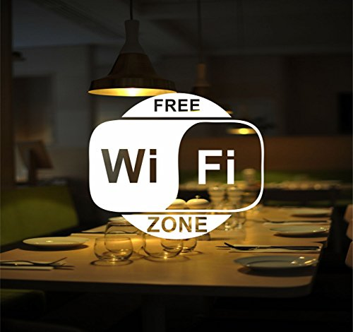 WIFI WITE 22cm x 18xcm Sss Wite WiFi senza finestra solo adesivo (220 mm x 180 mm) Decal internet Sign Cafe bar Club ufficio anteriore Shop