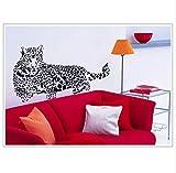 kdjshhs Pegatina De Pared Animal De Dibujos Animados Negro Leopardo Leopardo PVC Pegatinas De Pared 3D Tatuajes De Pared Extraíbles Decoración del Hogar Pegatinas De Vinilo Kindergarten Cartel