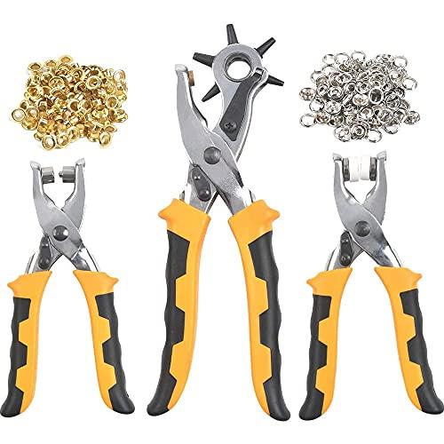 Alicates de Perforación, Juego de Alicates para Perforar Agujeros, Perforadora de Cinturón de Cuero, Juego de Alicates Perforadores Profesionales para Trabajador de Cuero, Artista Artesanal