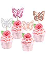Ercadio 48 Pack Colorful Butterfly Cupcake Toppers Glitter Assembled Butterfly Cupcake Picks Decorations for Baby Shower Kids Birthday Party Supplies