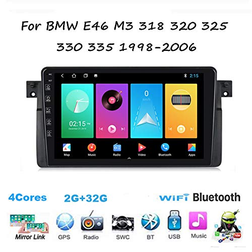 Yuahwyehe DVD Player Auto Für BMW E46 M3 1998-2006,Android Autoradio Auto Stereo,Doppel Din Radio Player Spiegel Link BT Freisprechfunktion Multimedia GPS Navigation Lenkradsteuerung,M150