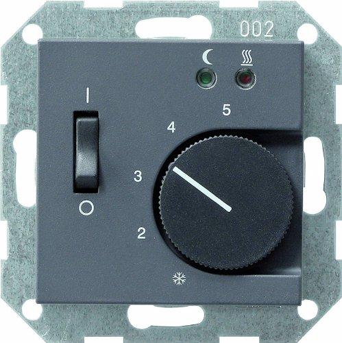 Gira 039428 Raumtemperatur-Regler 230V mit Sensor Fußbodenheizung System 55, anthrazit