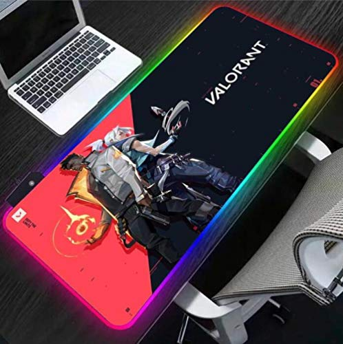 Mouse Pads Valorant RGB Laptop Mouse pad Gaming Player Desktop Gaming Pad LED USB PC with Backlight 24x12x0.15 inch