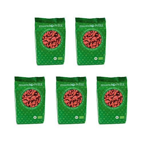 Mundo Feliz - Bayas de goji ecológicas, 5 bolsas de 100g