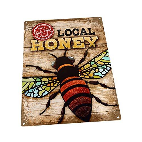 Verse biologische lokale honing/bijenmetaalteken; muurdecoratie voor keuken en eetkamer