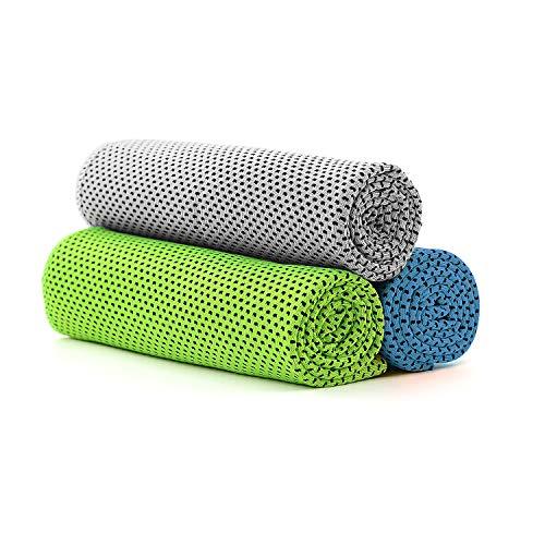 Azue 冷却タオル 冷感タオル 3枚セット 速乾タオル 吸水タオル ネッククーラー 熱中症対策 UVカット アウトドアグレー+グリーン+ライトブルー