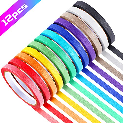 12 Rolls 0.4 Inch Colored Masking Tapes Colorful Crafts Labeling Painters Tapes with 12 Colors, 288 Yards in Total for Crafts, Arts, School Projects, Party, Home Decoration and Office Supplies