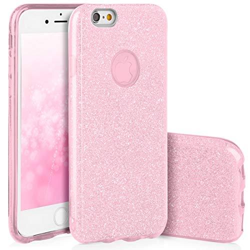 QULT Carcasa para Móvil Compatible con iPhone 6, iPhone 6S Funda Silicona Rosa Brillante Dura Bumper Teléfono Brillar Purpurina Caso para iPhone 6, 6S Pink