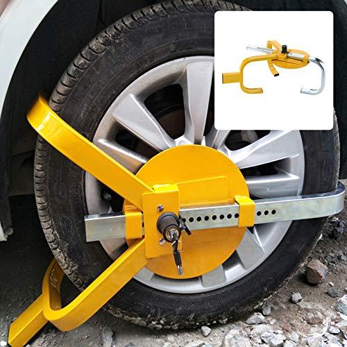 MorNon Radklaue Stahl Diebstahlschutzvorrichtung Diebstahlsicherung Parkklaue Diebstahlschutz Auto für Anhänger Radblockierung