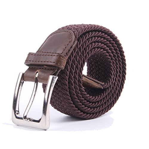 Canvas Elastic Fabric Woven Stretch Multicolored Braided Belts 2041-Coffee-L