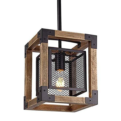 QIDOFAN - Lámpara de techo con lámpara de araña de madera, diseño retro industrial, estilo americano, para restaurante, sala de estar, dormitorio, porche bar, color negro, 22 x 22 x 26 cm
