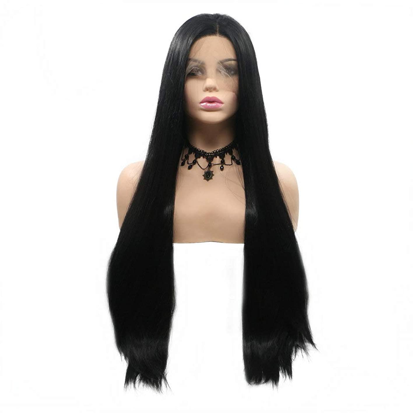 Natural Black Wig Straight Long Hair, 1B# Black Synthetic Lace Front Wigs for Women Holidays Festival Makeup Travel,Glueless Cap Drag Queen Wigs Flawless 28 twtkqtlecny692