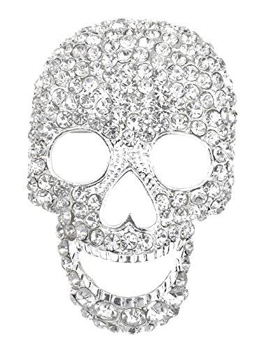 Alilang Silvery Tone Clear Crystal Colored Rhinestones Big Skull Head Face Brooch Pin