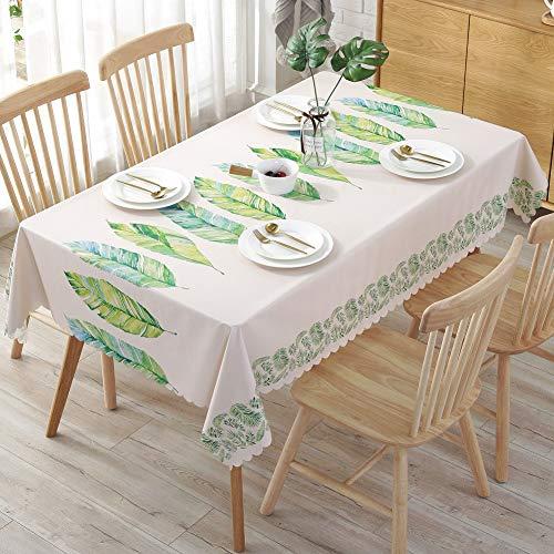 Omela Wachstuch Tischdecke Wachstuchtischdecke ECKIG PVC Tischdecke Wasserabweisend Abwischbar Tischtuch Garten Küche Wohnzimmer Tischdekoration Grün Blätter 135 x 200cm
