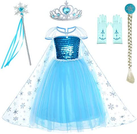 Party Chili Princess Costumes Birthday Dress Up for Little Girls with Crown Mace Gloves Accessories product image