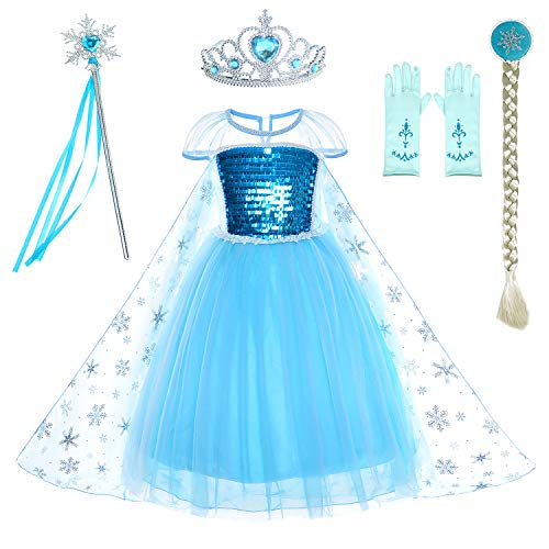 Snow Queen Princess Elsa Costumes Birthday Dress Up For Little Girls with Crown,Mace,Gloves Accessories 10-12 Years(150cm)