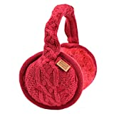 Sound Huggle Bluetooth Earmuff Headphones, Wireless Earmuffs for Winter with Hi-Fi Sound, Warm Bluetooth Ear Muffs for Men and Women, Foldable Design, Built-in Microphone, Cable Knit, Ruby Red