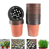 Oubest Plastic Plant Nursery Pots 4' 100 pcs for Succulent Propagation Seed Starting Seedlings Cuttings Transplanting Reusable Flower Plant Pots