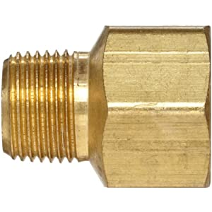 "Anderson Metals Brass Pipe Fitting, Adapter, 1/2"" Male Pipe x 1/2"" Female Pipe"
