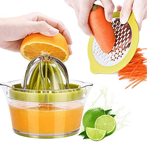 Manual Juicer Citrus Lemon Orange Hand Squeezer with Built-in Measuring Cup and Grater, 12OZ, Green