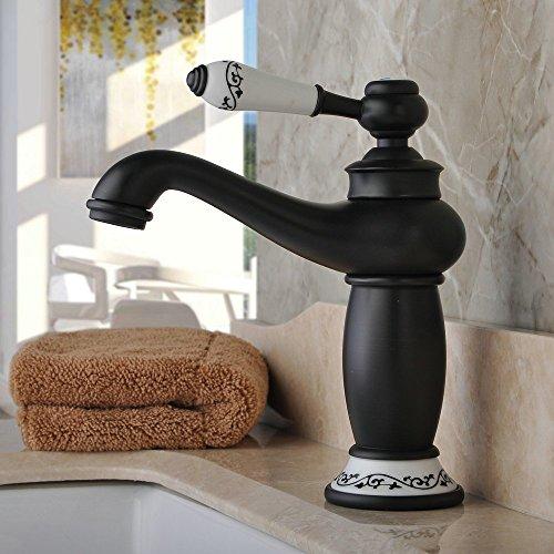 Hiendure® Messing Waschtischarmaturen Badezimmer Küche weiße Keramik-Material Griff, Öl eingerieben Bronze