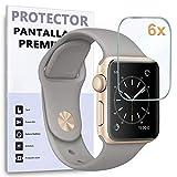 Protector de Pantalla para Apple Watch Series 6 - Series 5 - Series 4 de 40mm - SE 40mm, Reloj SmartWatch, (Pack 6X)