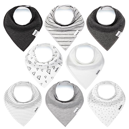 Baby Bandana Drool Bibs for Boys and Girls, Unisex 8 Pack Bib Set with Snaps for Drooling, Teething and Feeding, Soft and Absorbent, Baby Shower Gift for Newborn by KiddyStar