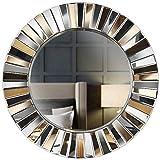 Carme Knightsbridge - Espejo redondo de pared con efecto espejo 3D para dormitorio, sala de estar, pasillo (oro rosa)
