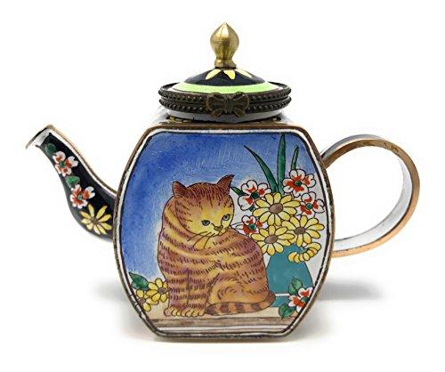 Kelvin Chen esmaltado miniatura tetera–marrón gato