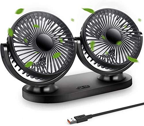STLOVe USB Mini Ventilatori 10 Volt Doppia Testa Ventola di Raffreddamento Ventilatore per auto Tre Velocità Regolabile e Rotazione Manuale a 360º+180º per Casa Ufficio Campeggio di Furgoni