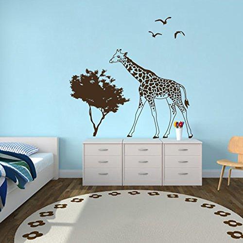 Giraffe Wall Decals Animals Art Jungle Safari Africa Vinyl Decal Birds Trees Sticker Home Decor Kids Nursery Bedroom Murals ML211