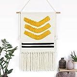 Weldomcor Tapiz de macramé para colgar en la pared, de algodón bohemio, hecho a mano, tapiz, de tela, color amarillo, decoración para la habitación