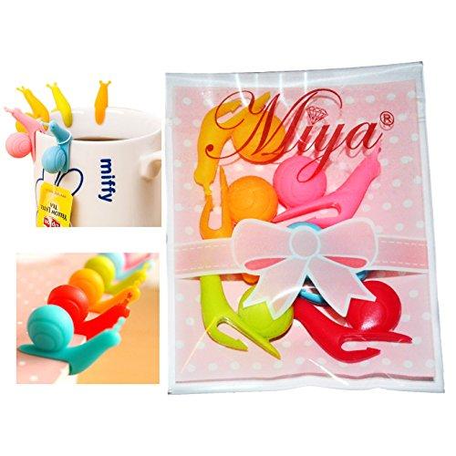 Miya® 6er Set süße Schnecke Form Teebeutel Halter, Tasse Glas Deko, hilft Tasse zu Unterscheiden, in ganz süß Bongbong Farbe