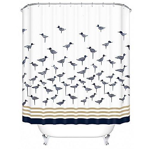 Norcho 200x200cm Blau Vögel Anti-Schimmel Duschvorhang, Wasserdichter Badvorhang mit 12 Duschvorhangringe für Badezimmer