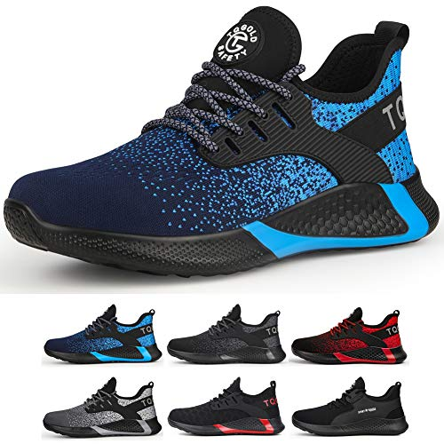 tqgold Sicherheitsschuhe Herren Damen S3 Sportlich rutschfeste Arbeitsschuhe mit Stahlkappe Leichtgewich Breathable Schuhe(Blau,Größe 48)