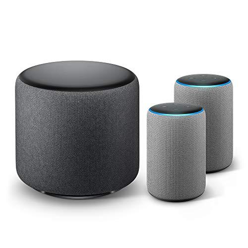 Echo Sub Bundle with 2 Echo Plus (2nd Gen) Devices - Heather Gray