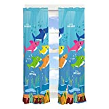 Franco Kids Room Window Curtain Panels Drapes Set, 82' x 63', Baby Shark