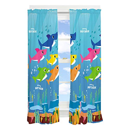 "Franco Kids Room Window Curtain Panels Drapes Set, 82"" x 63"", Baby Shark"