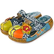 gracosy Leather Slipper, Women's Oxford Slipper Vintage Slip-Ons Mule Clog Colorful Flower Backless Loafer Shoes