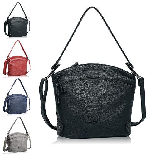 CASAdiNOVA Umhängetasche Damen Pia - 2in1 SET - Schultertasche zum Umhängen - Handtasche Veganes Leder - lederoptik, nachhaltig produziert - Damenumhängetasche schwarz