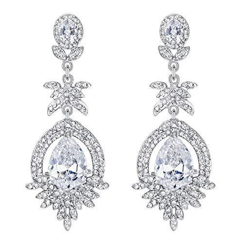 EVER FAITH Mujer Cristal Austríaco CZ Art Deco Hoja Floral Lágrima Pendientes Colgante Claro Tono Plateado