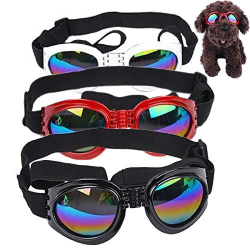 mengger 3Pcs Occhiali da Sole per Cani Doggles Pet Occhiali da Vista Protezione Cane Cinghie Regolabili, Protezione Impermeabile per Cani di Piccola e Media Taglia