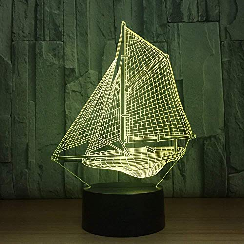 Bedroom Lamp Gaming Lights Novelty 3D Sailing Boat Night Lights Lamparas Led Touch Desk Table Lamp 7 Colors Changing USB Desk Light Kid Gift Toy with Remote Control