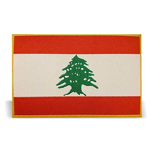 Generisch 2 x Libanon Flagge Patch ca.8cm x 5cm Aufbügler Aufnäher mit Spezial-Klebstoff mühelosaufbügeln